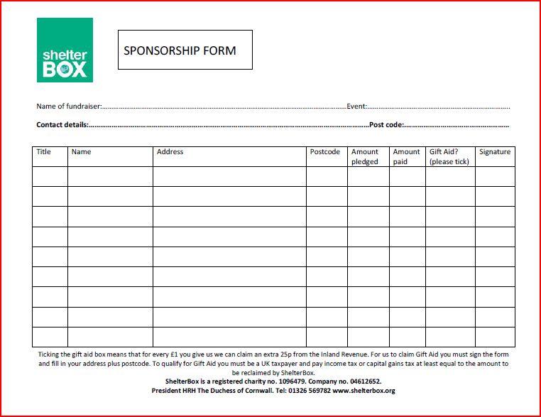 Donation Sponsor Sheets Template . Walk Thon Pledge Sheet  Blank Sponsor Form Template