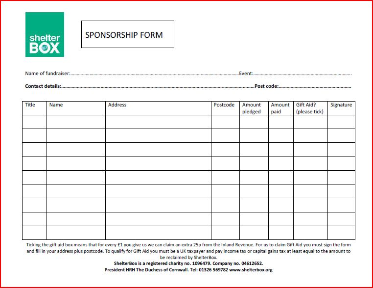Doc725946 Sponsor Sheets Sponsorship Form Template 86 More – Fundraising Forms Templates Free