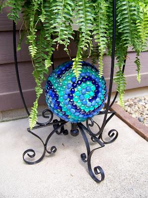 repurposed bowling ball, garden art, garden, garden decor, outdoor decor, upcycle,