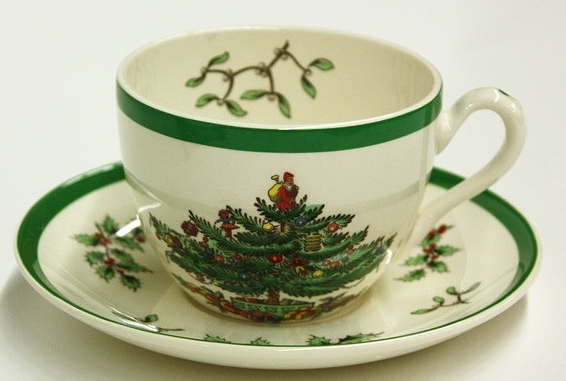 Cup and saucer, Christmas Tree pattern, date unknown - Spode History: Spode's Christmas Tree Pattern