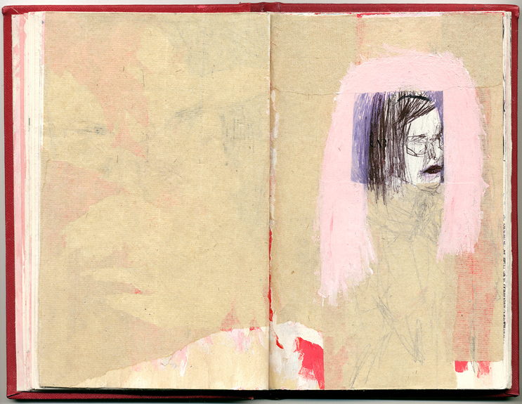 (pink hair black lips), And Other Observations, 2007. pen, acrylic & collage on altered book.
