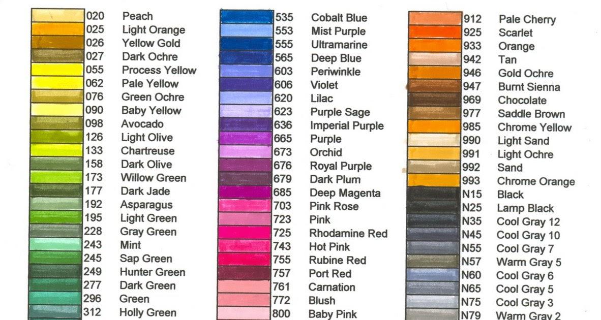 Tombow Blank Color Chart Homeschoolingforfree