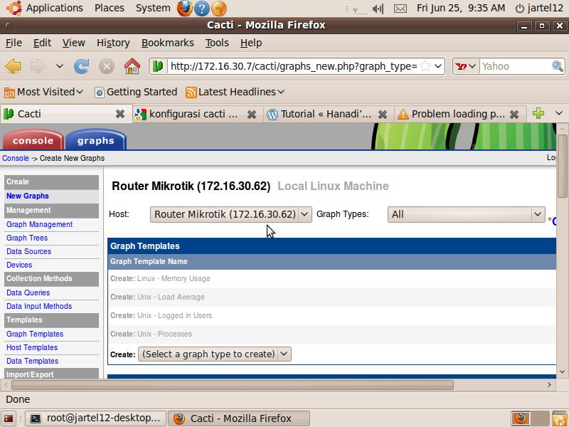 Gologolo konfigurasi dan penginstalan network monitoring for Mikrotik cacti template