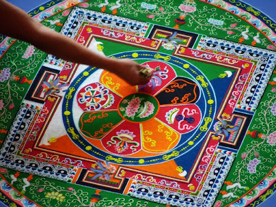 Tibetan Mandala making Buddhist Monk