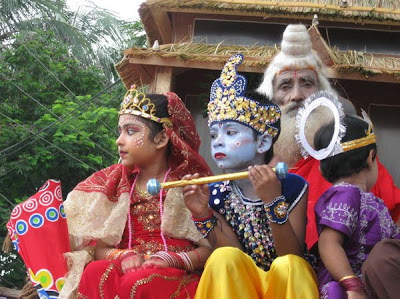Krishna and Radha in Dhaka Janmashtami Parade