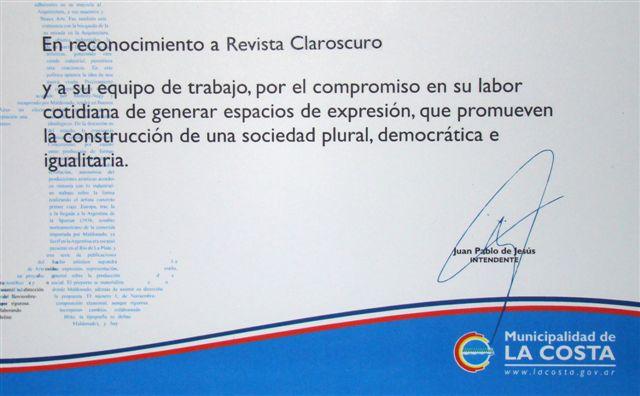 Reconocimiento Municipal a Revista Claroscuro en el día del - certificado de reconocimiento para imprimir