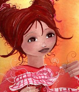 les confitures de mamaie claudine, illustration jeunesse d'une petite fille qui prépare les étiquettes des confitures