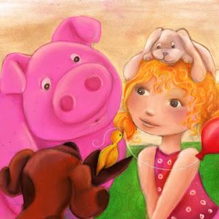 Illustration jeunesse qui cherche son texte une petite fille qui regarde un poussin dans la patte d'un cochon qui tient un ballon dans son bec