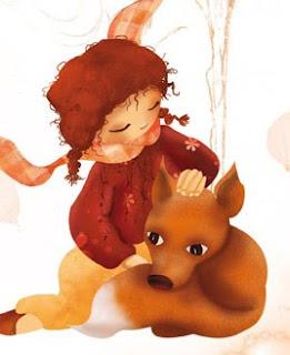 aujourd'hui c'est orange !La petite fille et le renard illustration jeunesse illustratrice