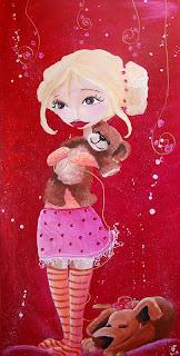 Une peinture d'une fillette avec son nounours dans les bras et un chien qui dort à ses pied, elle a une jupe et deux chignon, cette illustration a été réalisée par l'illustratrice laure phelipon