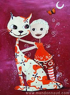 un chat avec des décorations des fleurs violettes et des végétaux orange, un petit garçon blond qui le serre pour lui faire un calin cette peinture, cette illustration a été réalisée par l'illustratrice laure phelipon