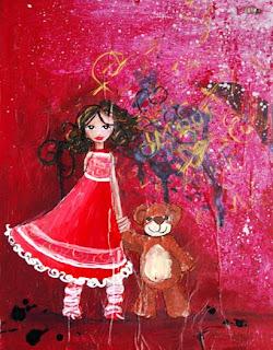 Princesse sur fond rouge (peinture acrylique)