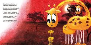 une maman girafe avec son enfant pour un album jeunesse