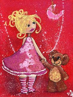 laure illustratrice, illustration d'une petite fille qui tient son nounours par la main en regardant la lune sur fond rouge.