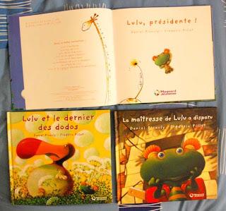 couverture de l'album jeunesse lulu présidente - lulu et le dernier des dodo et la maîtresse de lulu a disparu dédicacer par l'illustrateur fréderic pillot et par daniel picouly au salon de l'illustration jeunesse à montreuil