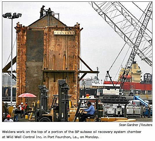 Cofferdam+Under+Construction+4 2010 BP Oil Spill: Case NOT Closed