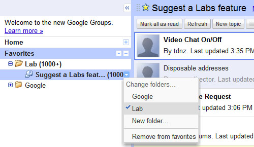 Google Groups Left Sidebar
