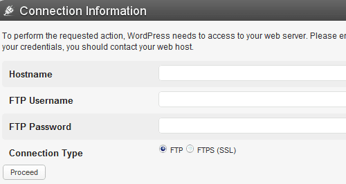 WordPress FTP Details