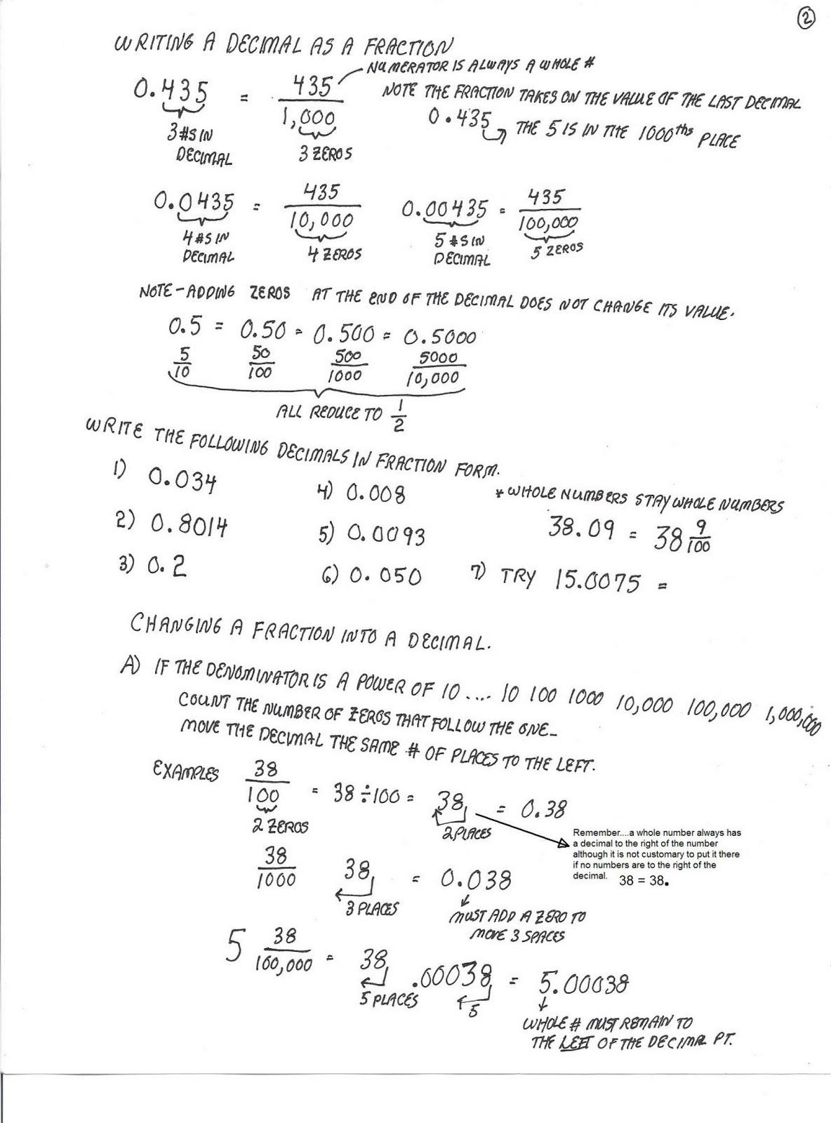 Cobb Adult Ed Math Decimal Notes And Worksheet