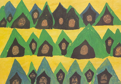 painting of children's faces in tents