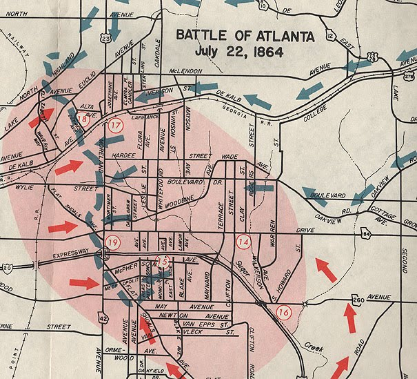 Battle Of Atlanta Map The Civil War Picket: Click it: Centennial map of Battle of Atlanta