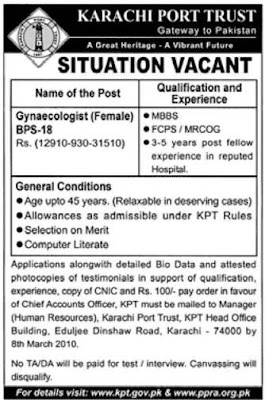 GOVERNMENT JOB IN KARACHI PORT TRUST- FEMALE GYNAECOLOGIST