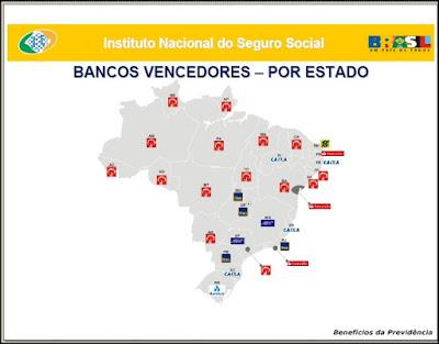 Tabela com os bancos ganhadores do leilão do INSS