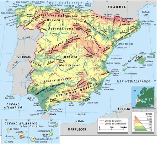 Mapa Fisico De España.Historia Para Aburrir Mapa Fisico De Espana Y Deberes