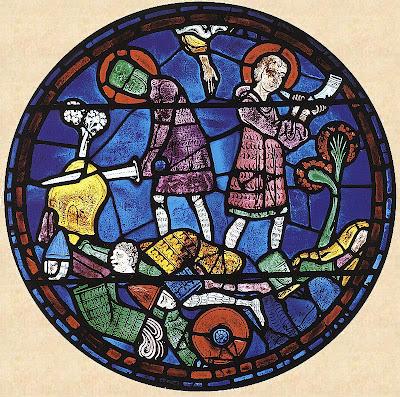Roland toca o olifante e tenta destruir sua espada.  Vitral de Carlos Magno, catedral de Chartres
