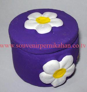 souvenir tempat perhiasan bentuk bulat bunga besar
