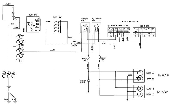 Circuit and Wiring Diagram: Daewoo Korando Head Lamp Schematic and Routing Diagrams