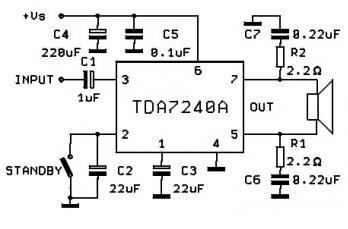 Circuit and Wiring Diagram: TDA7240A, 20W Car Amplifier
