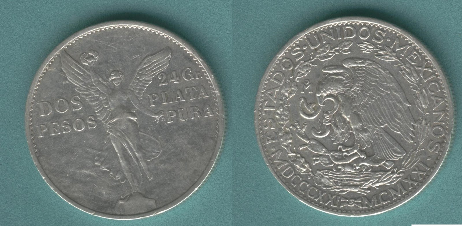 2 Pesos Ángel De La Independencia 1921 24 Grs Plata Pura