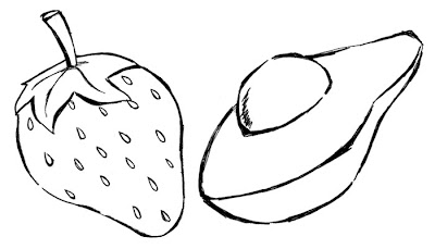 Morango E Abacate Desenhos De Frutas Colorir Desenhos Para Colorir