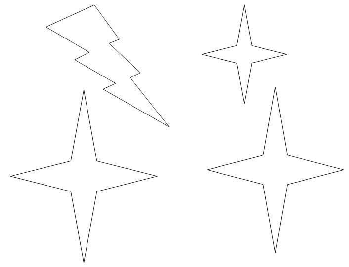 Estrelas De Quatro Pontas Para Colorir, Diversas Figuras