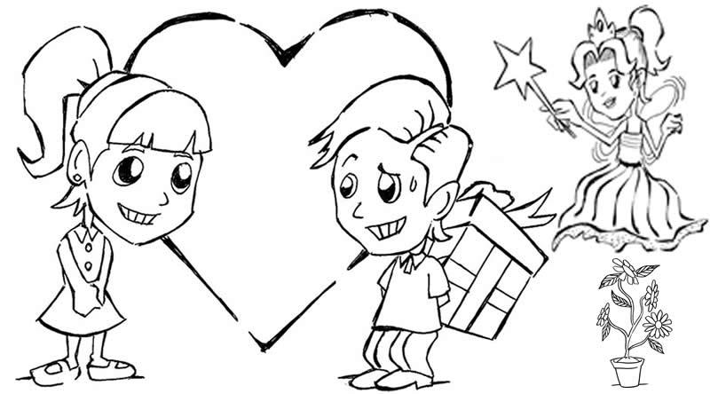 Desenho Para O Dia Dos Namorados Desenho De Menino E Menina