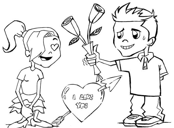 Coração Para Colorir. Desenho De Namorados. Dia Dos