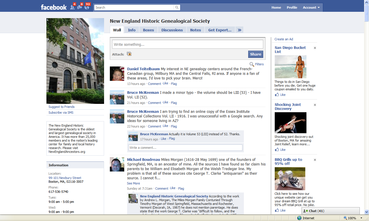 Genea Musings Nehgs Using Facebook Page As A Message Board