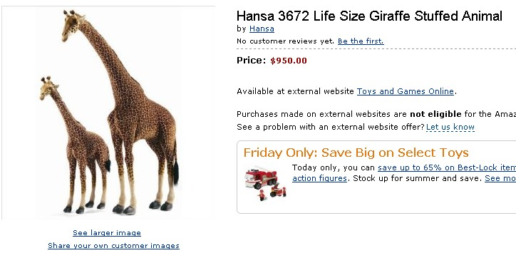 The Customer Is Always Right Hansa 3672 Life Size Giraffe Stuffed