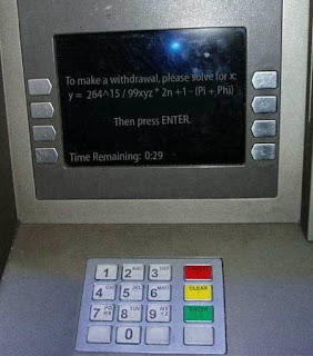 atm insane security question solve math problem funny, to make a withdrawal, please solve for x