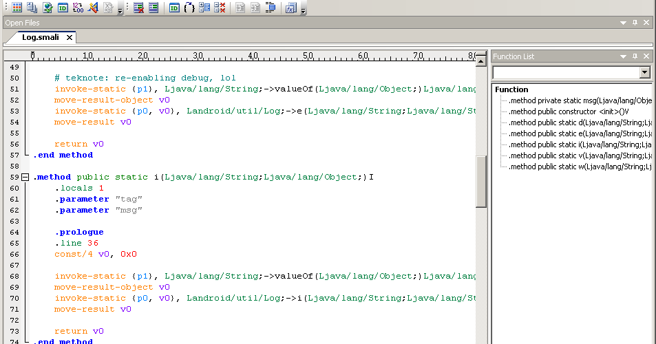 android cracking: smali syntax highlighting for ultraedit