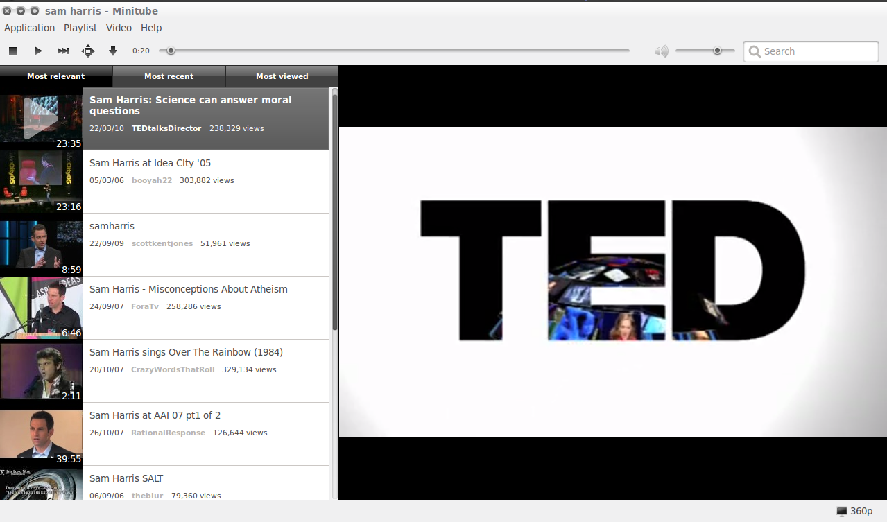 Minitube - Perhaps the Cleanest Looking YouTube Desktop Application