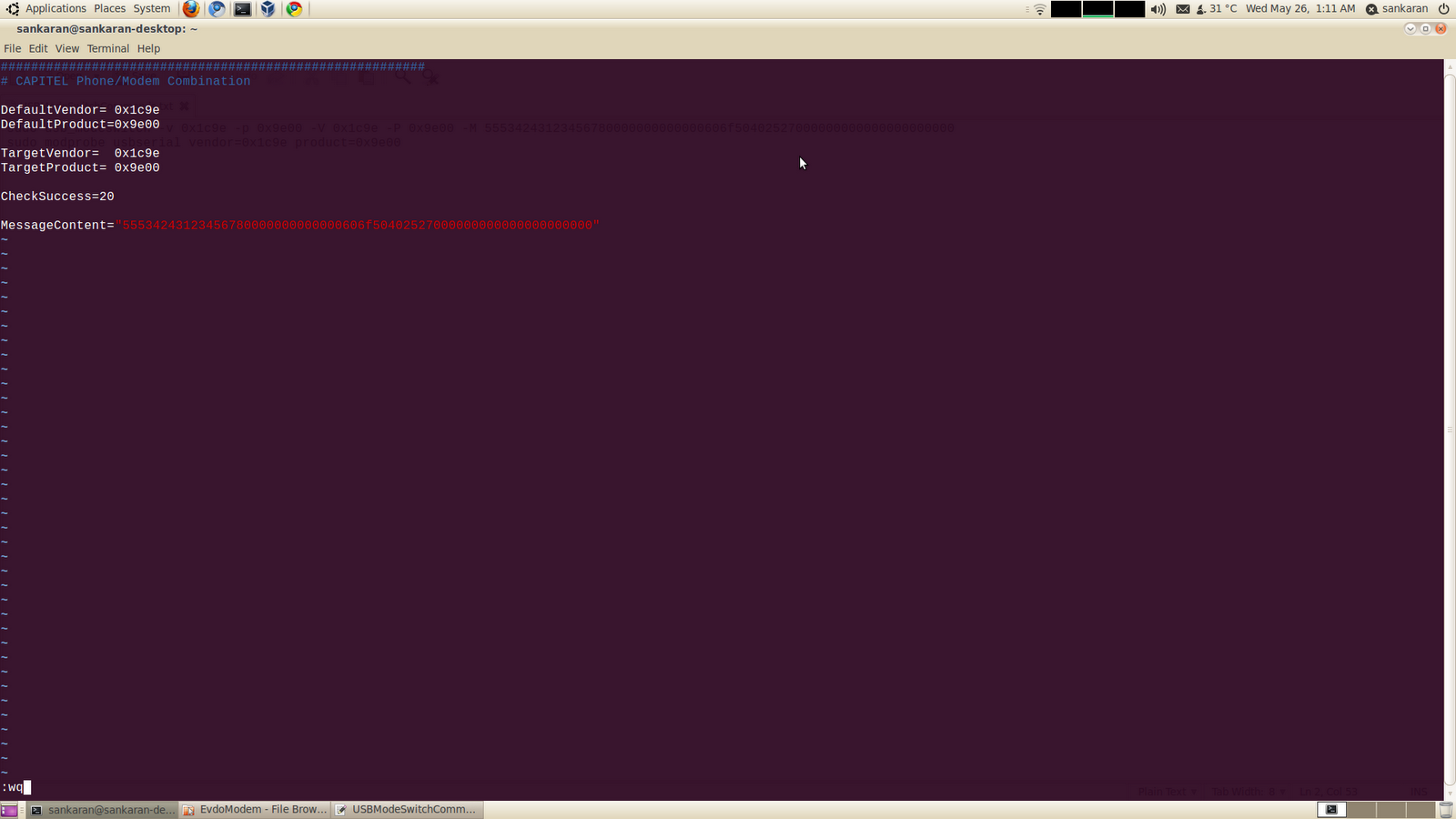 My experiments with Linux: Configuring BSNL EVDO CAPITEL 3G USB