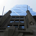 Hearst HQ 2 - Looking up past the Citizen Kane base to the hex lattice on Hearst HQ's 57th St. side.