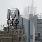 Down 8th Ave - Front to back down 8th to 41st St.: the Milford `M`, that ugly Westin Hotel, and the new NY Times building.