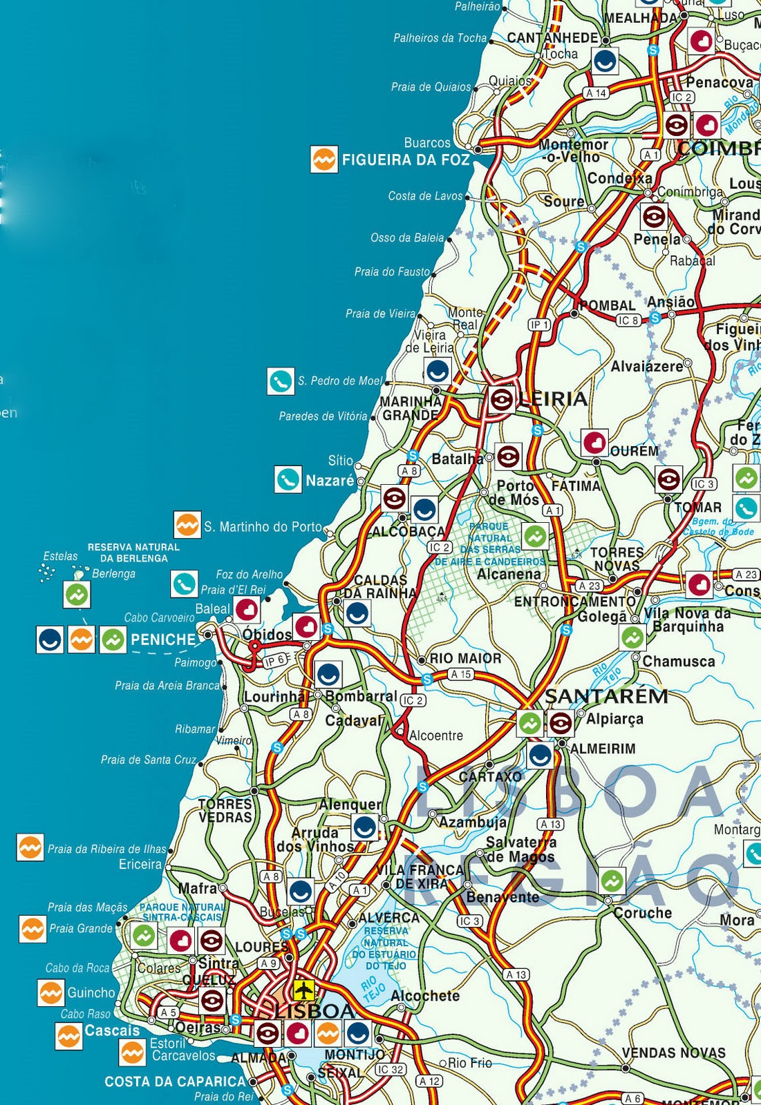 Welcome To The Silver Coast Of Portugal Location Maps - Portugal map obidos
