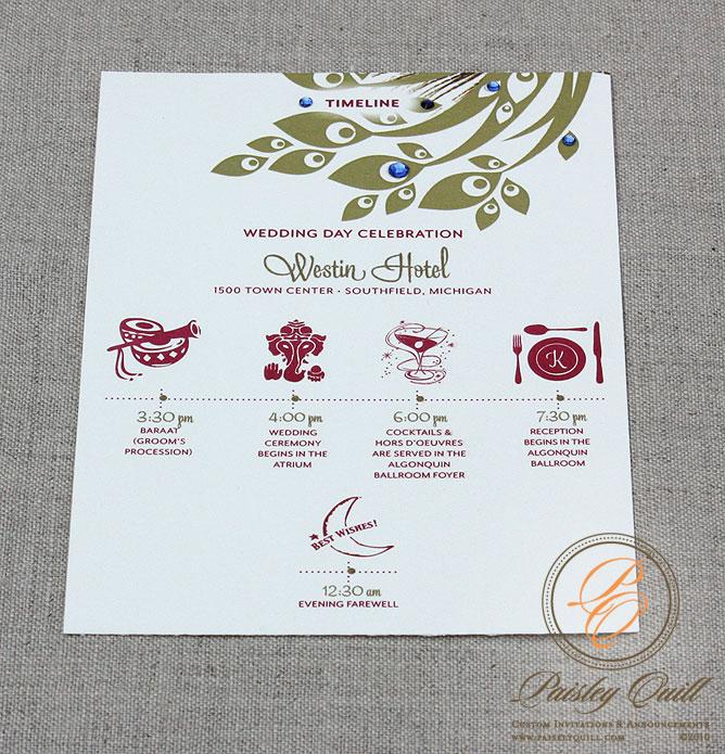 Wedding Invitation Timeline: Paisley Quill: Peacock Themed/Hindu Wedding Invitations