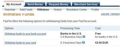 kā izņemt naudu no paypal