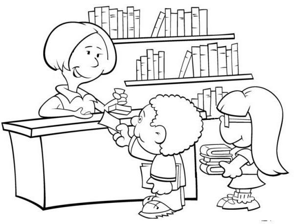 Desenho De Biblioteca Para Colorir: Cantinho Das Atividades: DESENHOS PARA COLORIR: TEMA ESCOLAR