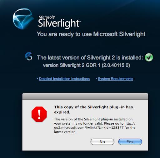 ScrappyDog: Silverlight 3 plus OS X plus Firefox = bad juju?